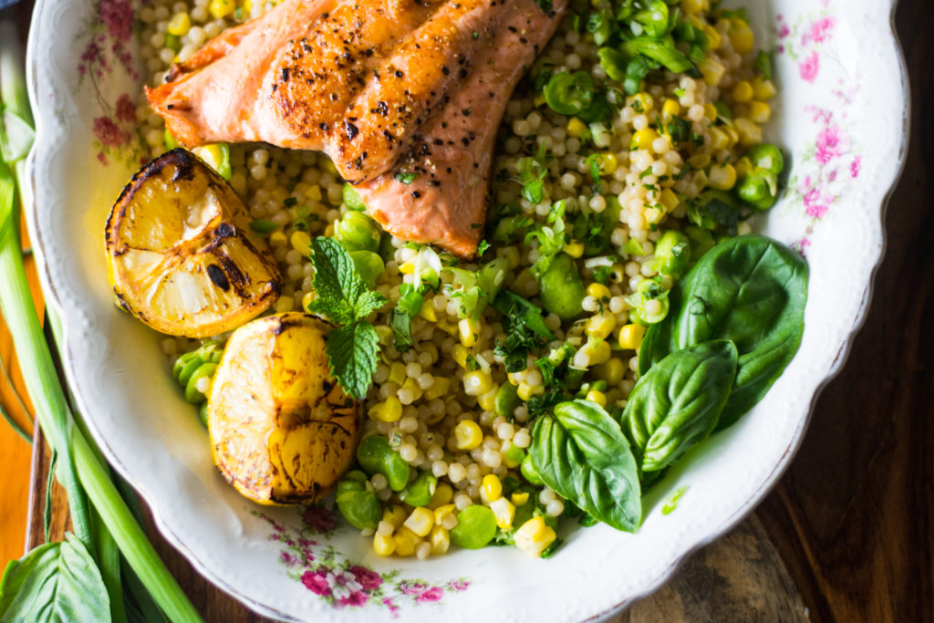 57 shabbat dinner recipes youre going to love the nosher salmon with israeli couscous 3 forumfinder Gallery
