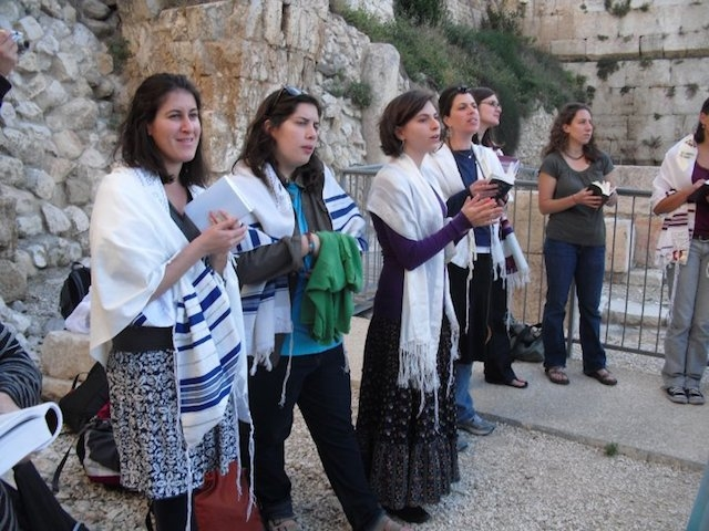 Women participating in a Rosh Chodesh worship service near the Western Wall in Jerusalem in 2013. (Michal Patelle/Women of the Wall)