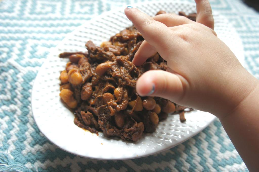 brisket with hand