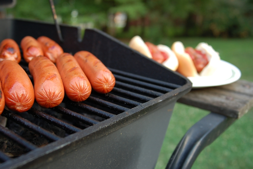 Barbeque Grill filled with hot dogs