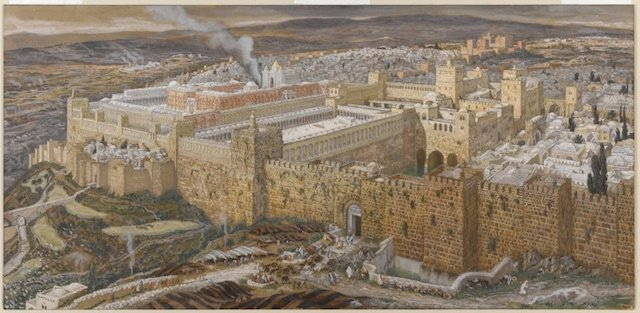 """Reconstruction of Jerusalem and the Temple of Herod"" (James Tissot, Brooklyn Museum via Wikimedia Commons)"