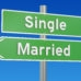 single or married concept on the signpost, 3D rendering