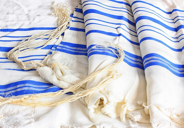 A tallit, or Jewish prayer shawl.