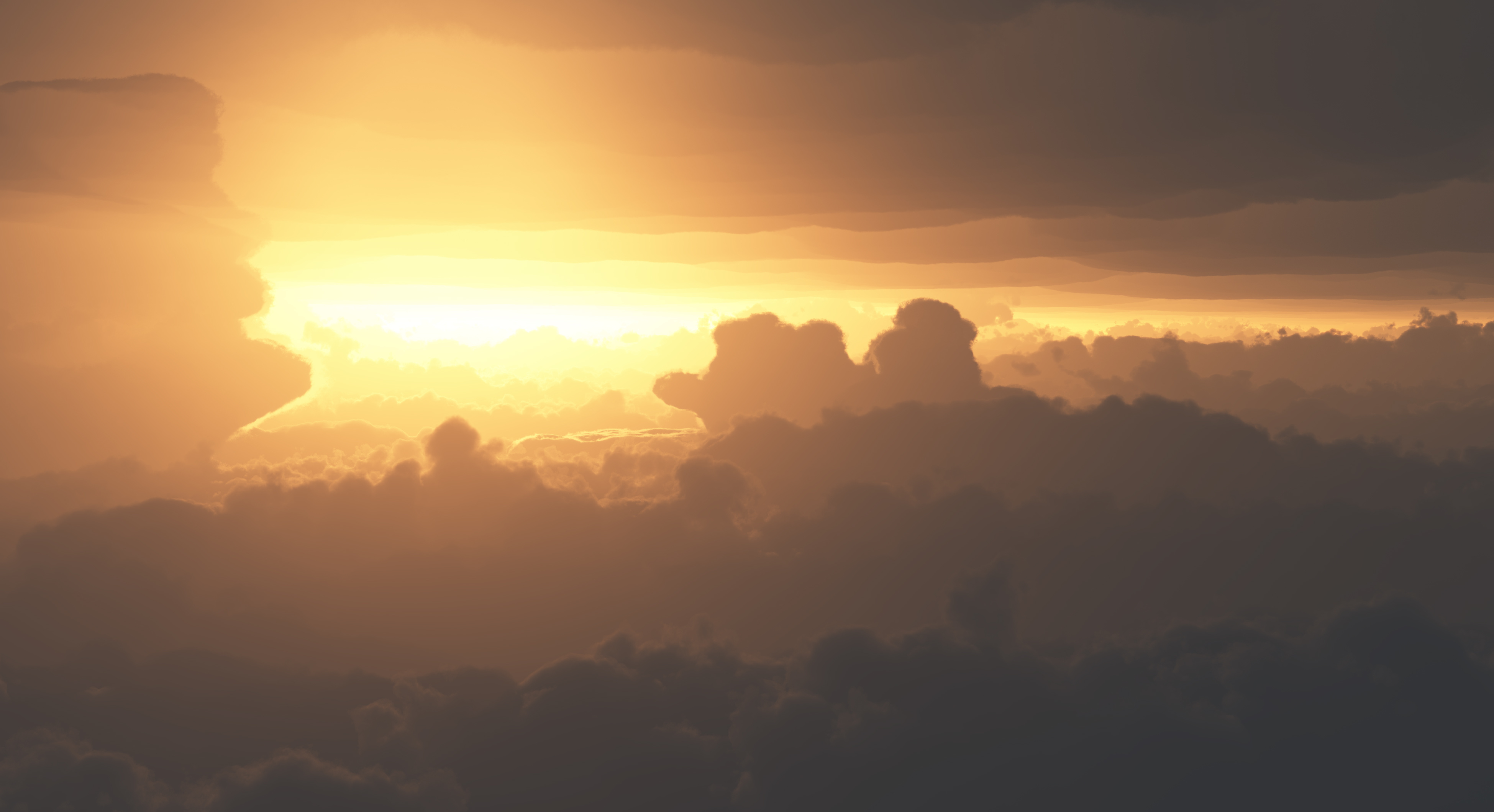 Dramatic Clouds from Above at Sunset or Sunrise