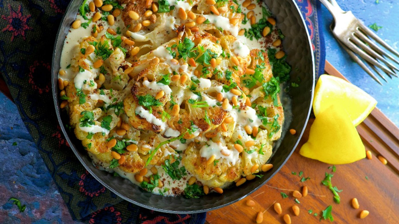 Cauliflower Steak with Tahini and Pine Nuts Recipe