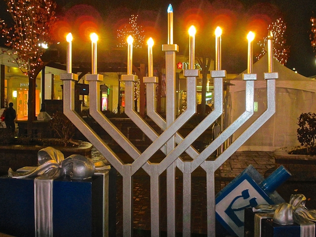 Hanukkah electric menorah at outdoor mall
