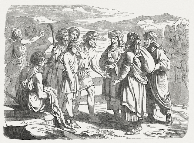 Joseph's brothers selling him into slavery (Genesis 37) in a woodcut from a drawing by Julius Schnorr von Carolsfeld (German painter, 1794 - 1872) .