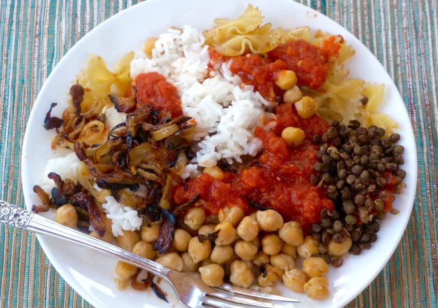 Koshary egyptian lentil and rice recipe the nosher serves forumfinder Image collections