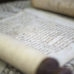 Close up of a  jewish papyrus in a museum