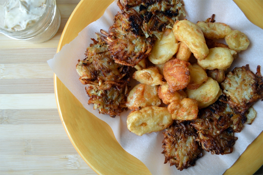 hanukkah appetizers fried cheese curds and mini latkes the nosher