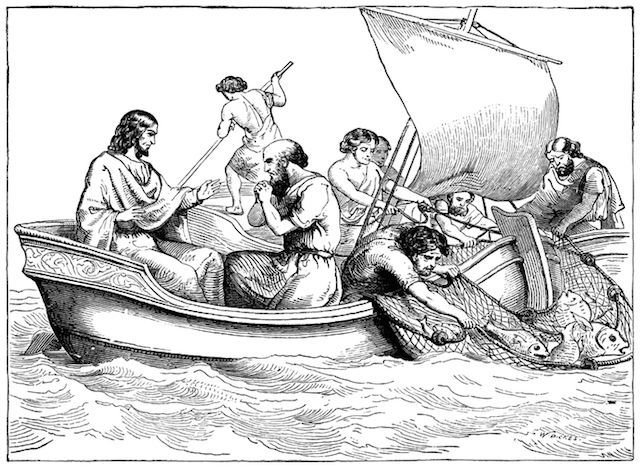 "Illustration depicting Jesus, with apostles fishing in the Sea of Galilee. (From ""At Home' by Grace Stebbing, published by John F Shaw & Co)"