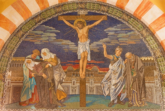 A mosaic in Jerusalem's Evangelical Lutheran Church of Ascension depicting Jesus' crucifixion. (iStock)