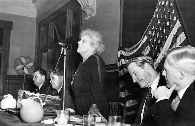 Louise Waterman Wise, Jewish activist and wife of World Jewish Congress President Stephen Samuel Wise, addressing the War Emergency Conference of the World Jewish Congress in Atlantic City, N.J., in 1944. (World Jewish Congress/Wikimedia Commons)