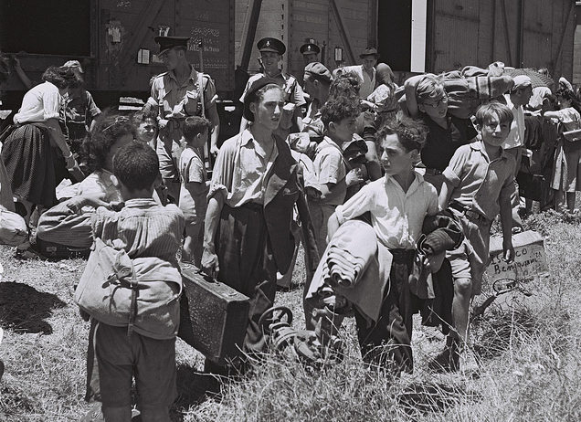 Children rescued from the Nazi camps arrive at the Atlit reception camp in Israel, July 1945. (Kluger Zoltan/Israel Government Press Office)