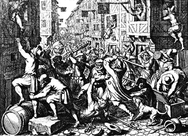 Engraving depicting the plundering of the Judengasse, Frankfurt's Jewish ghetto, during the Fettmilch riot of August 1614. (Matthäus Merian/Wikimedia Commons)