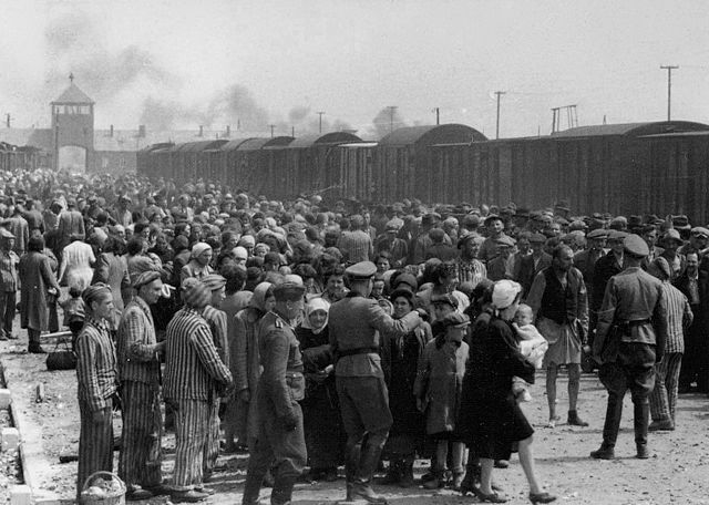 """Selection"" of Hungarian Jews on the ramp at the death camp Auschwitz-II (Birkenau) in Poland during German occupation, May/June 1944. (Wikimedia Commons/Yad Vashem)"