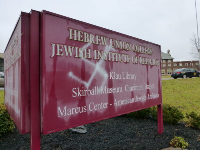 A sign at Hebrew Union College-Jewish Institute of Religion in Cincinnati vandalized with a swastika in 2016.