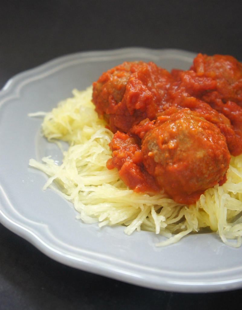sweet and sour meatballs w spaghetti squash vert
