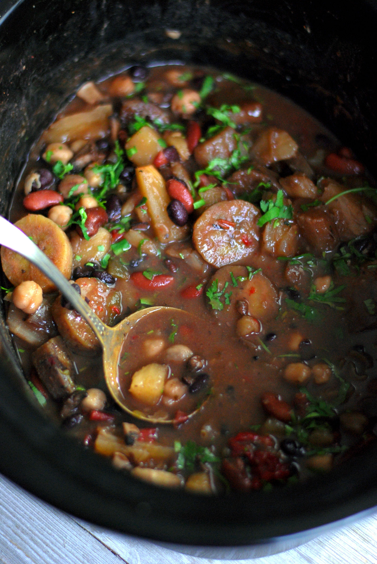 Latin inspired vegetarian cholent recipe the nosher while portobello mushrooms may not be latin american i added them for nutrition and a meatier depth of flavor the squeeze of fresh lime before serving forumfinder Choice Image