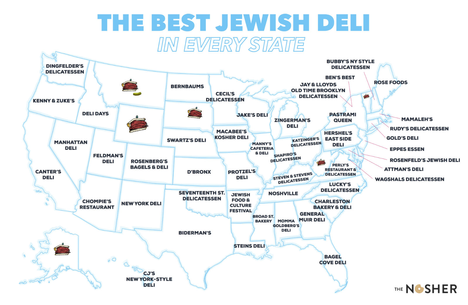This Map Shows the Best Jewish Deli in Every State | The Nosher