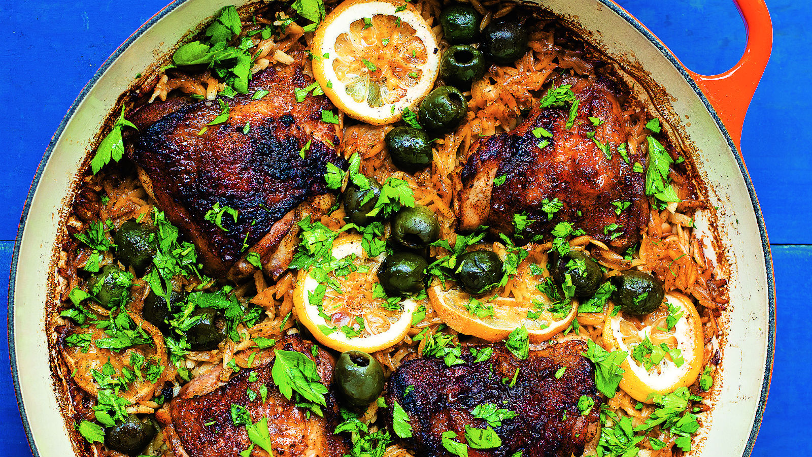 One Pot Paprika Chicken with Orzo and Olives Recipe | The Nosher