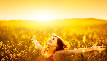 happy woman in field