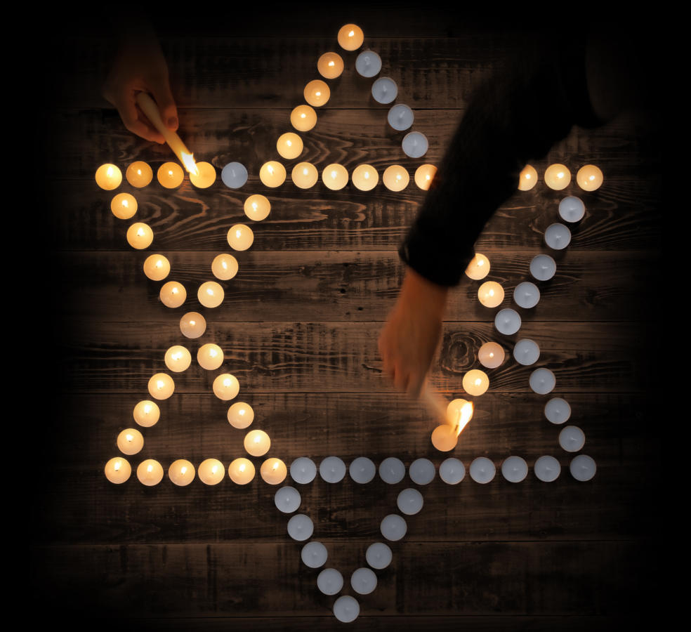 jewish star in candles