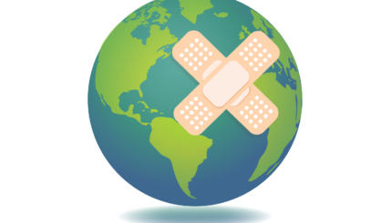 Planet Earth with bandage