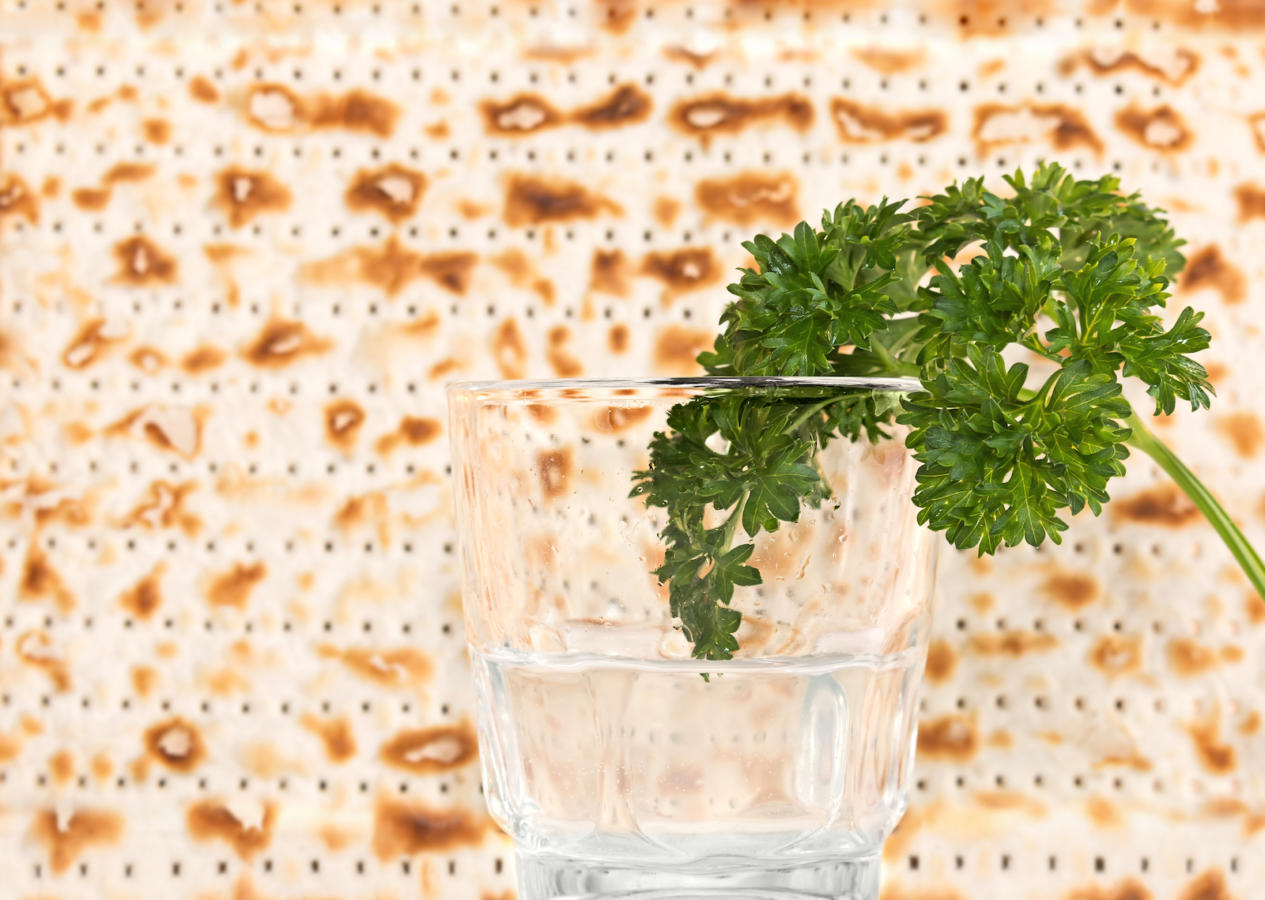 Passover holiday fresh green parsley and saltwater