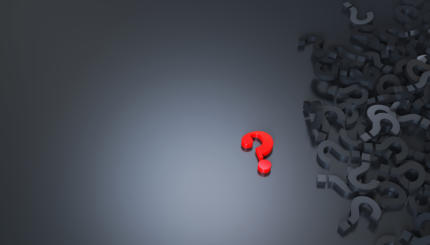 Red question mark in black