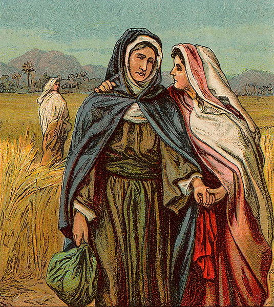 Drawing of two women together in a field, plus another woman in the background.