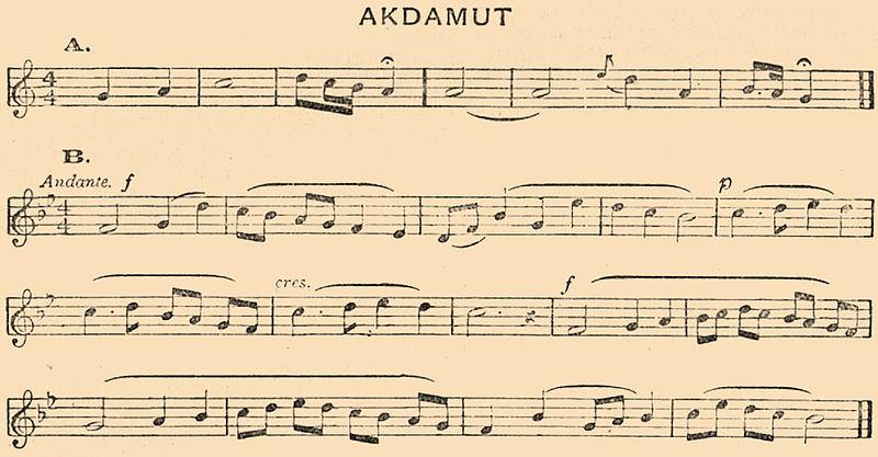 musical score for akdamut