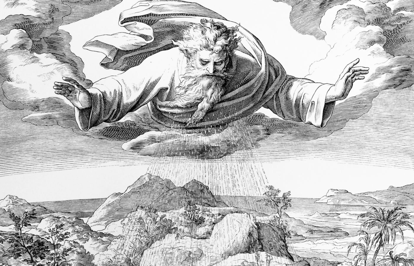 ID: in black and white, clouds fill the top of the scene. At the cloud line, an older person, read as an older man, floats in the air with arms extended. From his torso, rain flows to the earth.  The earth appears to be desert, with some smaller plants and rocks around.