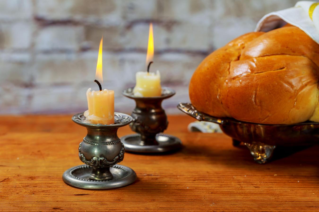Shabbat Shalom - Traditional Jewish ritual challah bread,