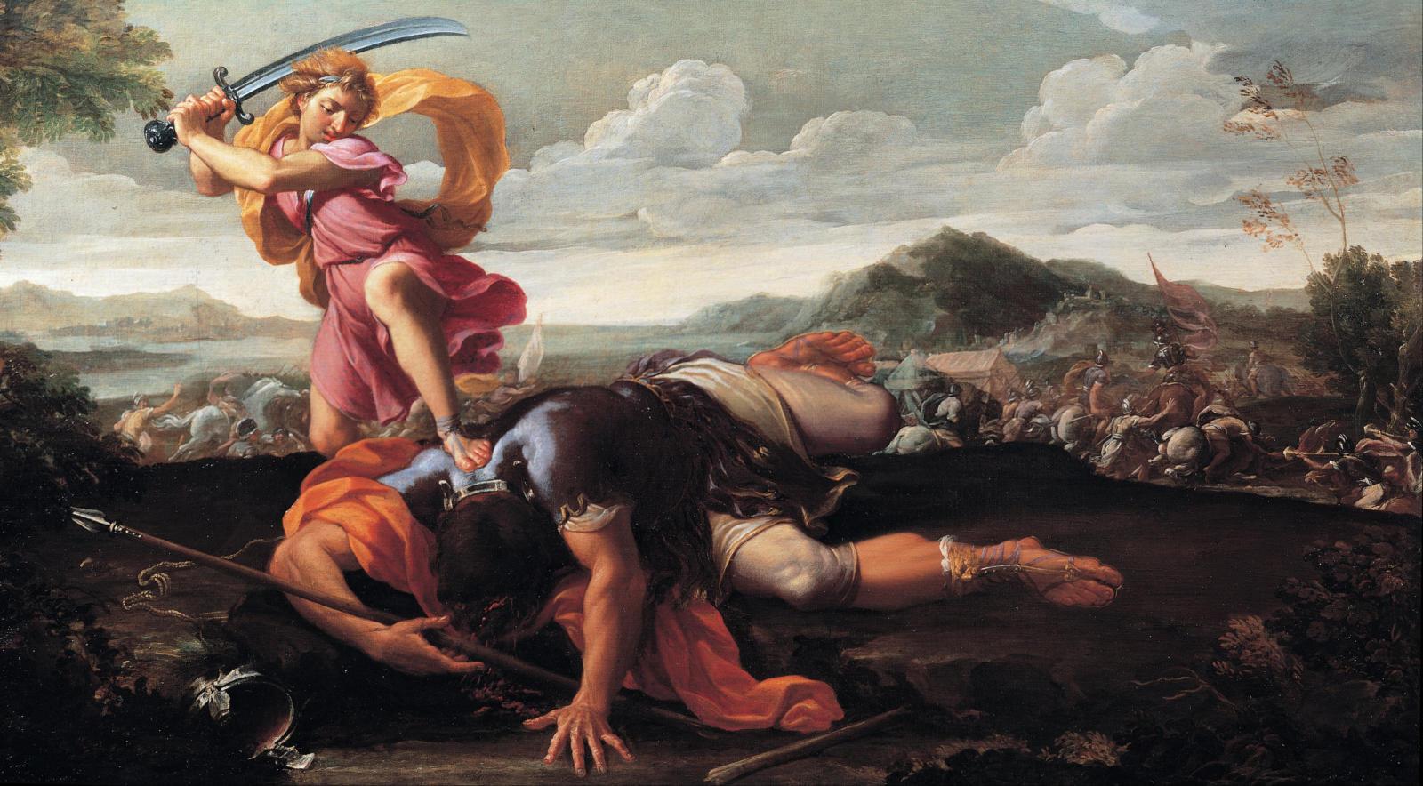 David beheading Goliath.