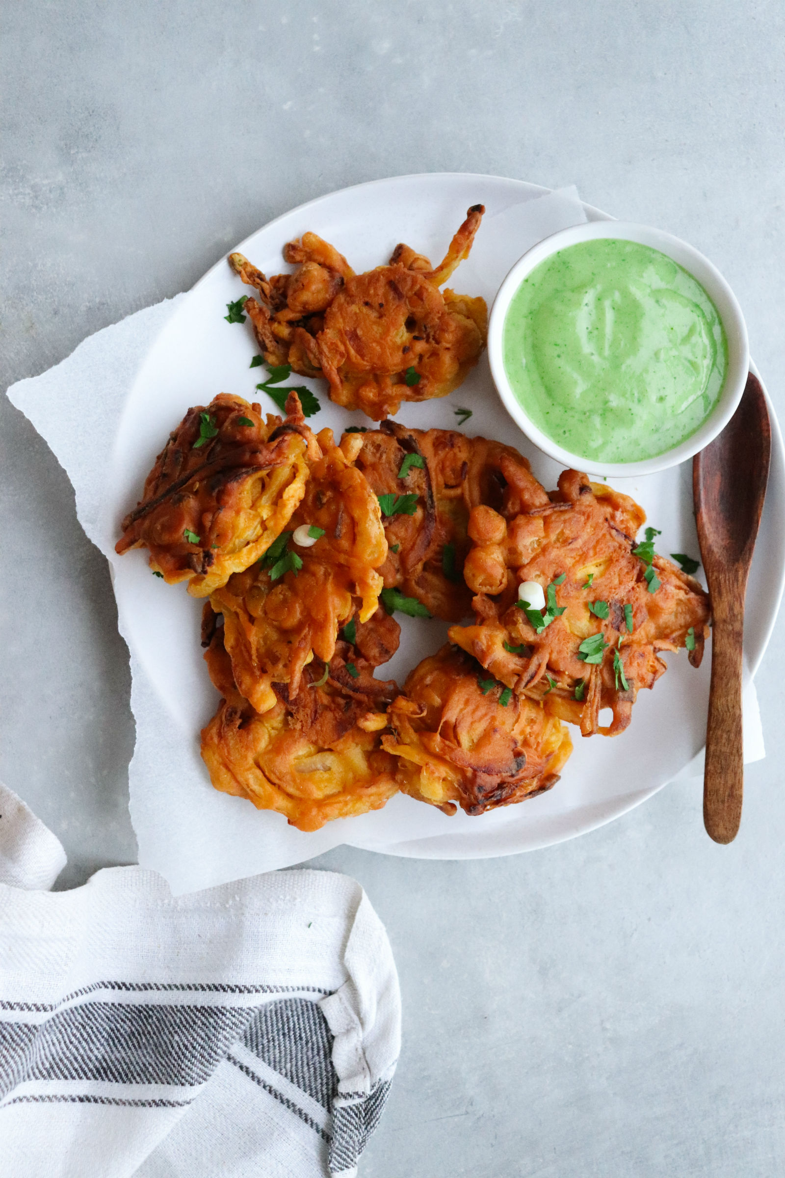Onion and Chickpea Indian Fritters for Hanukkah