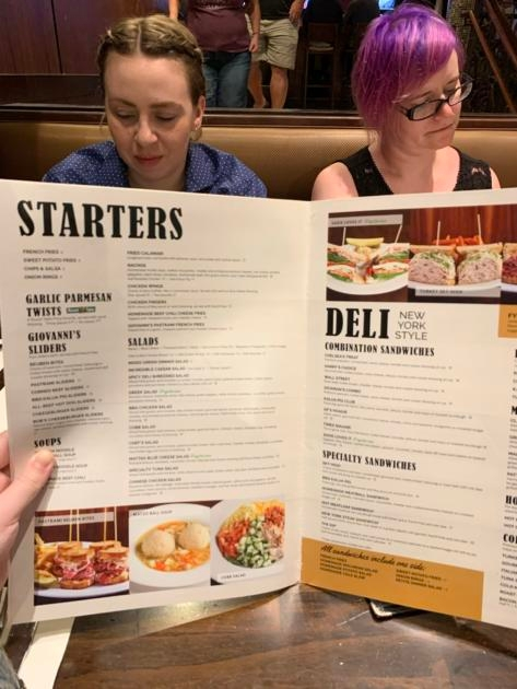 menu at giovanni pastrami