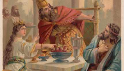 Queen Esther accuses Haman before King Ahasuerus, chromolithograph, published 1886
