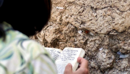 Over the shoulder shot of a woman praying at the Wailing Wall in Israel