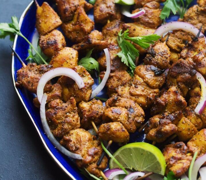 shwarma chicken kebabs ((Chaya Rappoport)