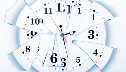 clock with broken glass on a white background. Frustration time, plans of business, life.